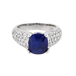 18KT White Gold 2.92ct GIA Cert Blue Sapphire and Diamond Ring