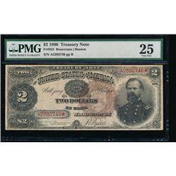 1890 $2 Treasury Note PMG 25 Very Fine