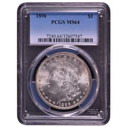 1896 $1 Morgan Silver Dollar Coin PCGS MS64