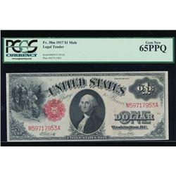 1917 $1 Legal Tender Mule Note PCGS 65PPQ