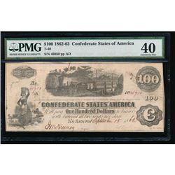1862-63 $100 Confederate States of America Note PMG 40