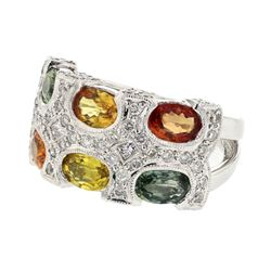 18KT White Gold 3.54ctw Multi Color Sapphire and Diamond Ring