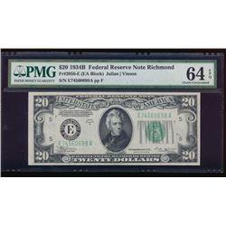 1934B $20 Richmond Federal Reserve Note PMG 64EPQ