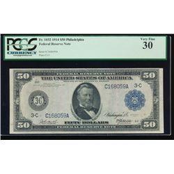 1914 $50 Philadelphia Federal Reserve Note PCGS 30