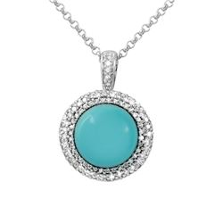 14KT White Gold 6.84ct Turquoise and Diamond Pendant with Chain