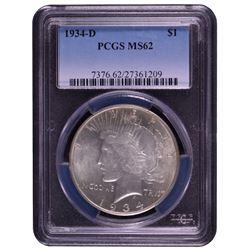 1934-D $1 Peace Silver Dollar Coin PCGS MS62