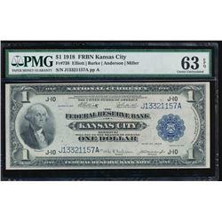 1918 $1 Kansas City Federal Reserve Bank Note PMG 63EPQ