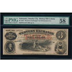 1857 $3 Western Exchange Obsolete Note PMG 58