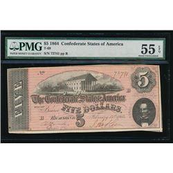 1864 $5 Confederate States of America Note PMG 55EPQ