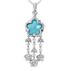 14KT White Gold 4.55ct Turquoise and Diamond Pendant with Chain
