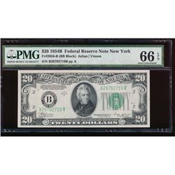 1934B $20 New York Federal Reserve Note PMG 66EPQ