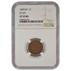 1869/69 Indian Cent NGC VF35BN