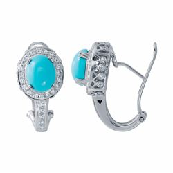 14KT White Gold 3.66ctw Turquoise and Diamond Earrings