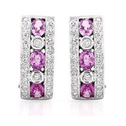 14KT White Gold 1.54ctw Pink Sapphire and Diamond Earrings