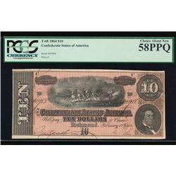 1864 $10 Confederate States of America Note PCGS 58PPQ
