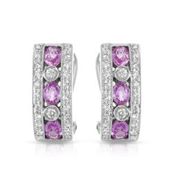 18KT White Gold 1.35ctw Pink Sapphire and Diamond Earrings