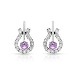 14KT White Gold 0.55ctw Pink Sapphire and Diamond Earrings