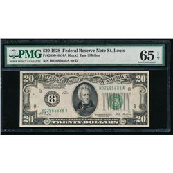 1928 $20 St Louis Federal Reserve Note PMG 65EPQ