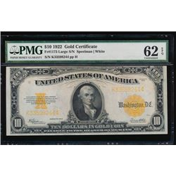1922 $10 Large Gold Certificate PMG 62EPQ