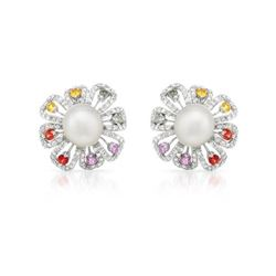 14KT White Gold 24.92ctw Pearl Sapphire and Diamond Earrings