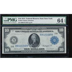 1914 $10 New York Federal Reserve Note PMG 64EPQ