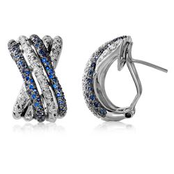 14KT White Gold 0.39ctw Blue Sapphire and Diamond Earrings