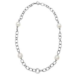 14KT White Gold 36.65ctw Pearl and Diamond Necklace