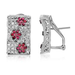 14KT White Gold 0.78ctw Ruby and Diamond Earrings
