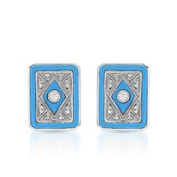 14KT White Gold 1.17ctw Turquoise and Diamond Earrings