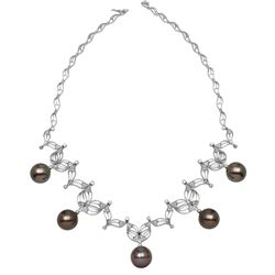 14KT White Gold 76.17ctw Tahitian Pearl and Diamond Necklace