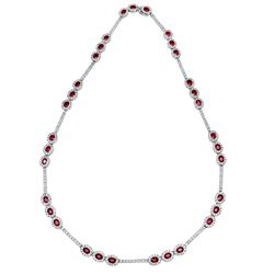 14KT White Gold 7.05ctw Ruby and Diamond Necklace