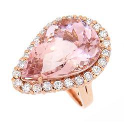 14KT Rose Gold 14.10ct Morganite and Diamond Ring