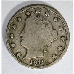 1912-S LIBERTY NICKEL, VG+ FULL LIBERTY KEY COIN