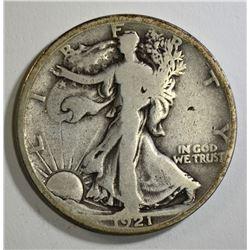 1921 WALKING LIBERTY HALF DOLLAR, VG