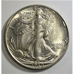 1938 WALKING LIBERTY HALF DOLLAR, CH BU+