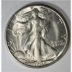 1947-D WALKING LIBERTY HALF DOLLAR, CH BU+