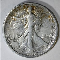 1916-S WALKING LIBERTY HALF DOLLAR, F/VF KEY DATE