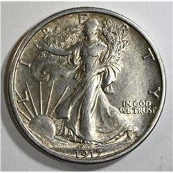 1917 WALKING LIBERTY HALF DOLLAR, AU/UNC