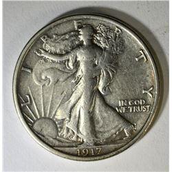 1917-D REV WALKING LIBERTY HALF DOLLAR, XF