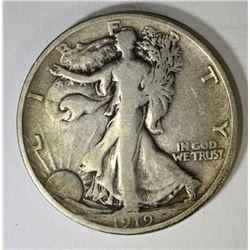 1919-D WALKING LIBERTY HALF DOLLAR, FINE
