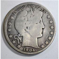 1904-S BARBER HALF DOLLAR GOOD+ KEY DATE