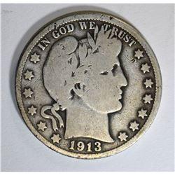 1913 BARBER HALF DOLLAR, G/VG KEY DATE