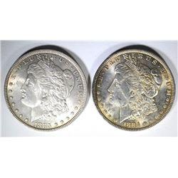2 - CHOICE BU+ MORGAN DOLLARS; 1884-O & 1885-O