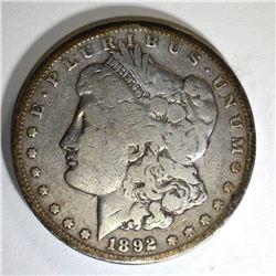 1892-CC MORGAN DOLLAR, VG+ KEY DATE COIN