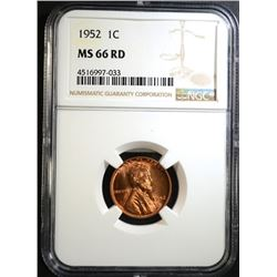 1952 LINCOLN CENT, NGC MS-66 RED