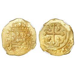 Mexico City, Mexico, cob 8 escudos, Philip V, (1711-13)J, NGC MS 61, ex-1715 Fleet (designated on la