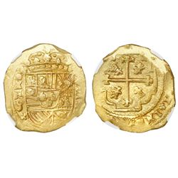 Mexico City, Mexico, cob 8 escudos, Philip V, (1711-13)J, NGC MS 61, ex-1715 Fleet (designated on la