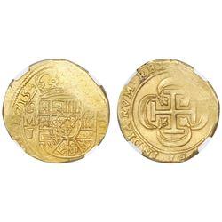 Mexico City, Mexico, cob 8 escudos, 1715J, NGC MS 61, ex-1715 Fleet (designated on label).