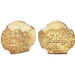 Mexico City, Mexico, cob 1 escudo, 1711J, NGC AU 58, ex-1715 Fleet (designated on label).