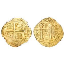 Lima, Peru, cob 8 escudos, 1711M, NGC MS 62, ex-1715 Fleet.